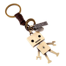 ZG Creative Gifts Robot Keychain Handbags Pendant Genuine Leather Key Chains Key Ring Holder Key Accessories for Women Men(China)