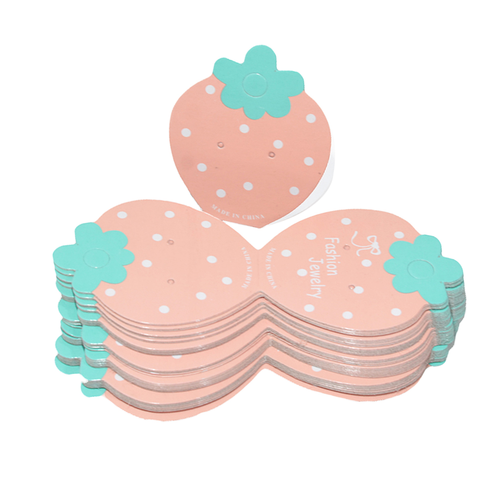 50Pcs Lovely Strawberry Packaging Cards Hair Accessories Cards For
