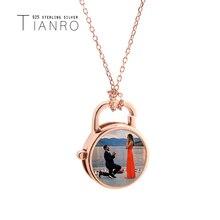 Простой круглый замок ожерелье женщина розового золота стерлингового серебра 925 природных оболочки ожерелье картина настраиваемый ювелирных изделий