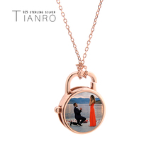 Simple round lock pendant female rose gold 925 sterling silver natural shell necklace Picture customizable jewellery