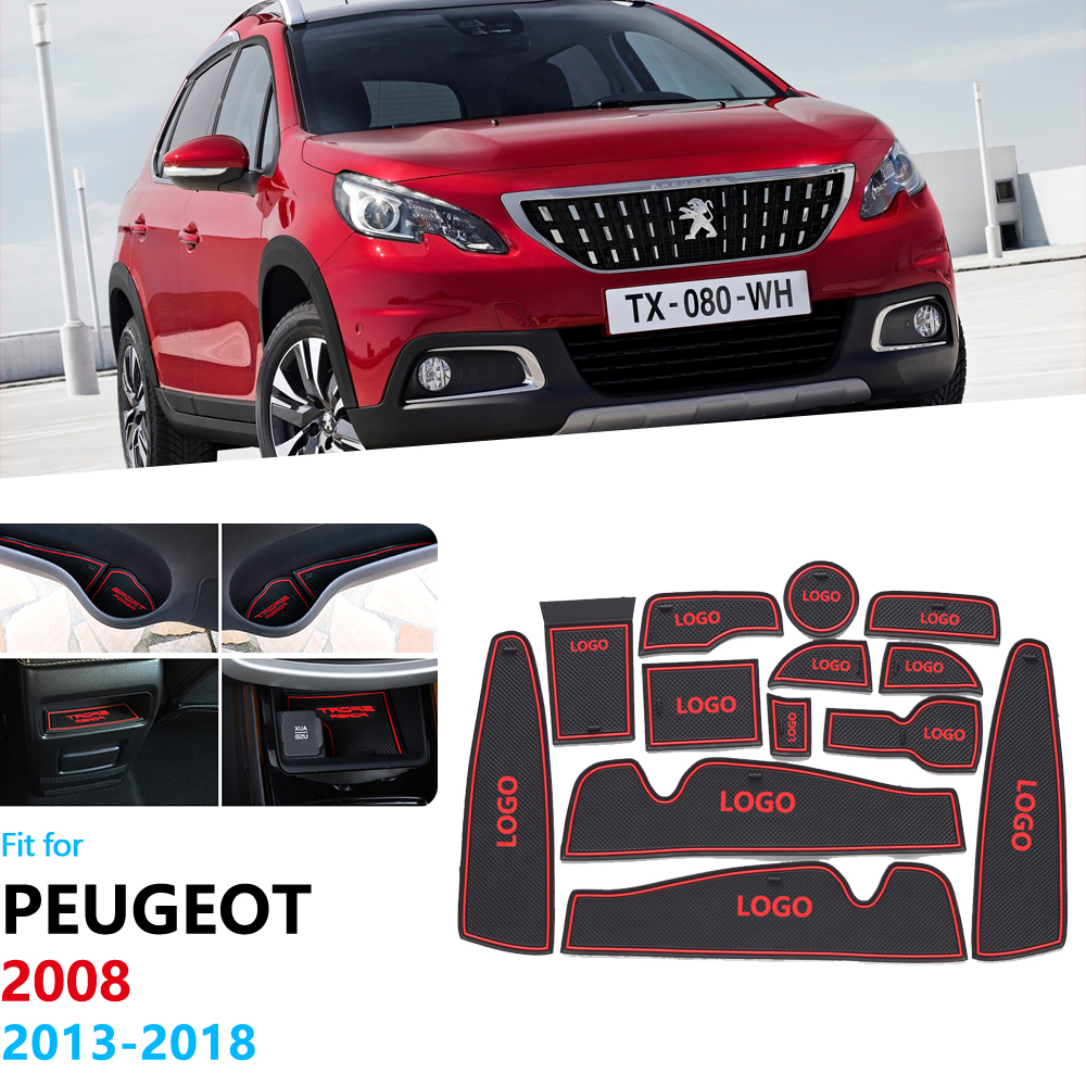 Anti-Slip Rubber Gate Slot Cup Mat For Peugeot 2008 2013~2018 Coaster Peugeot2008 Accessories Car Stickers 2014 2015 2016 2017