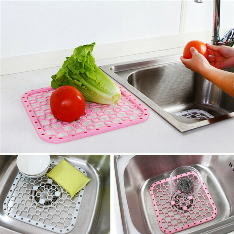 Plastic Kitchen Sink Protector Draining Mat Deluxe Anti-Slip Scratch