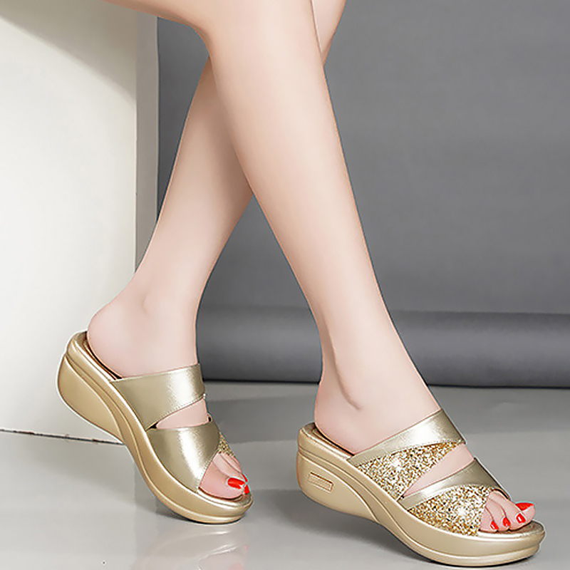 Casual Women Fish mouth Platform Heels Sandals Golden Party Sandals Summer shoes Wedge Leather Casual Shoes Soft