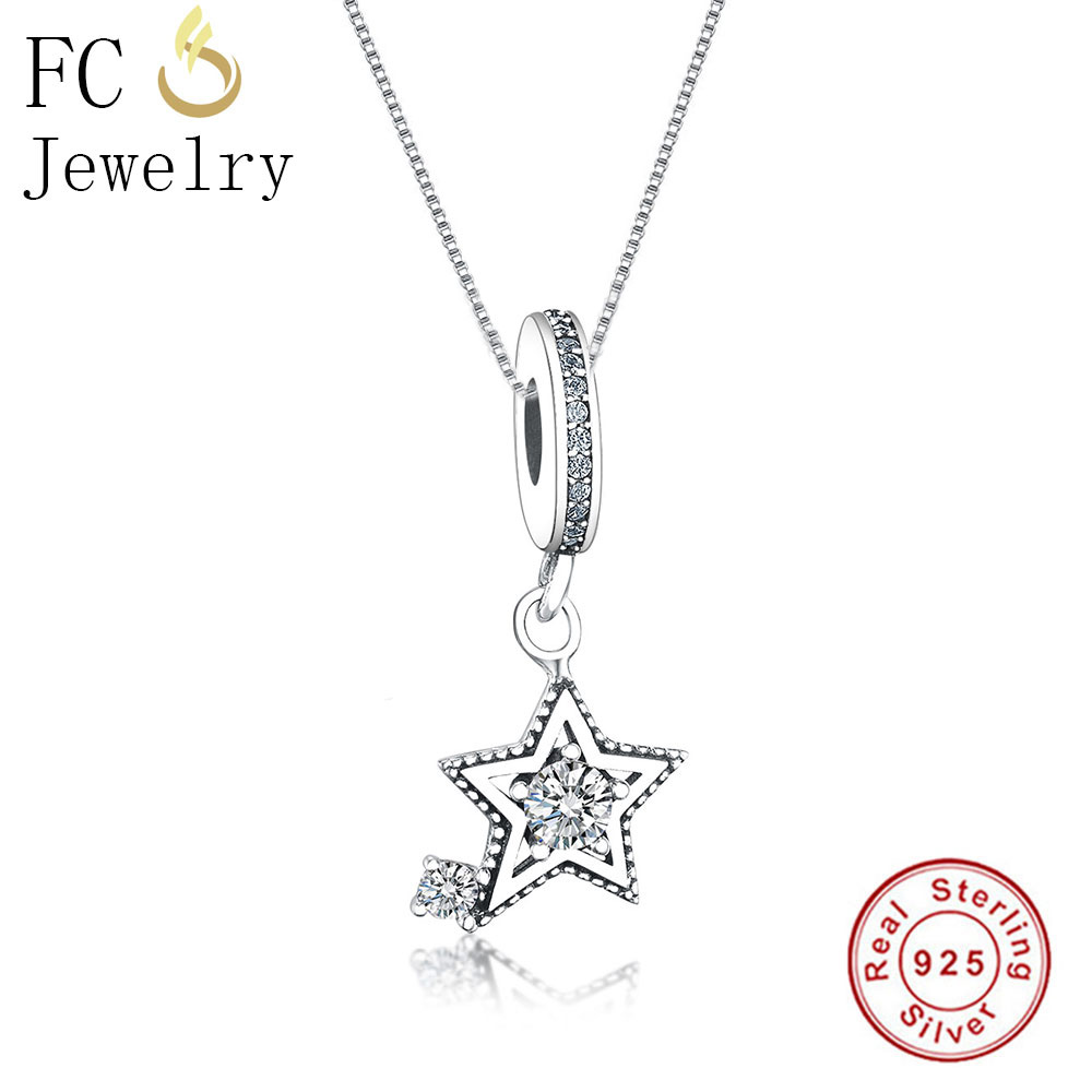 FC Jewelry 925 Sterling Silver Vintage Star & Natural CZ Stone Charm Pendant Necklace Chain Kettingen Women Girl Chokers Trinket