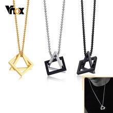 Vnox basit birbirine kare üçgen kolye kolye erkekler için paslanmaz çelik Modern moda geometrik İstifleme sokak giyim
