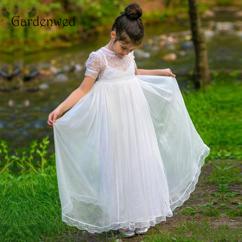 2019 New White Flower Girl Dresses For Weddings Jewel Short Lace Sleeve Child Birthday Party Gowns Girls Pageant Dress