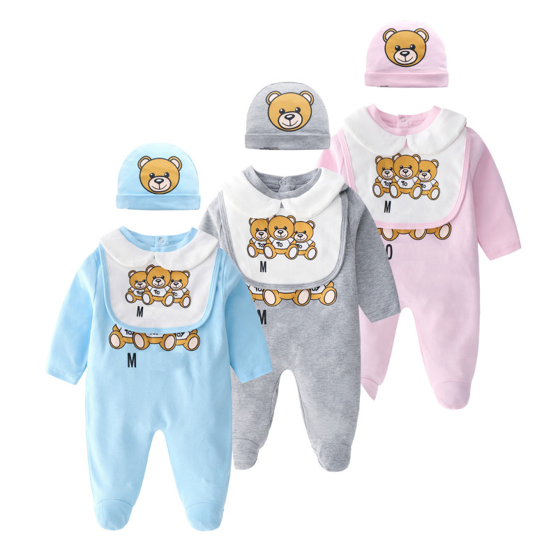 Spring Autumn Newborn Baby   Rompers   Hairband Briefs 3pc/set Boys Girls Cotton Infant Cartoon Bear Long Sleeve Jumpsuit Sleepsuits