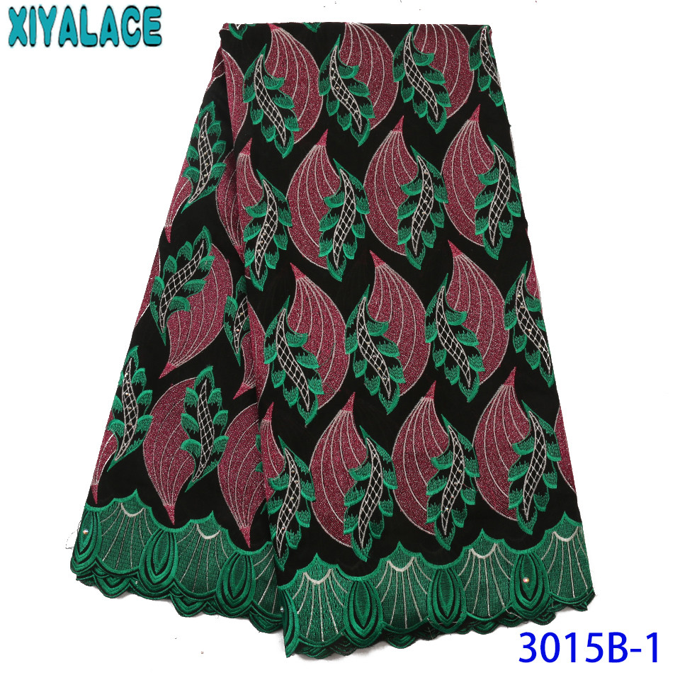 Nigerian Lace Fabric 2019 High Quality Lace Swiss Lace Fabric Embroidered Cotton Laces With Rhinestone KS3015B
