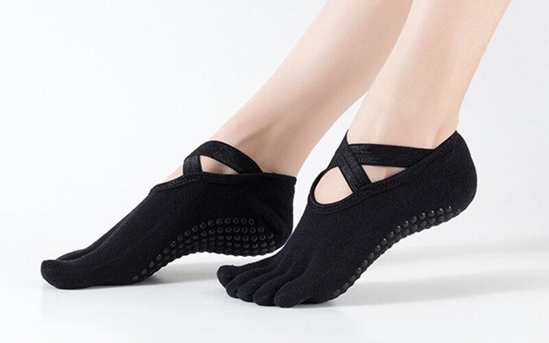 para mulheres ballet pilates exercício anti-pular meias com cruz bandagem yoga meia