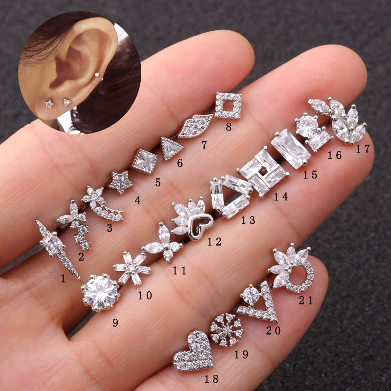 Sellsets Conch Earring Stud Flower-Crown Helix Piercing Butterfly Cartilage Heart 1piece