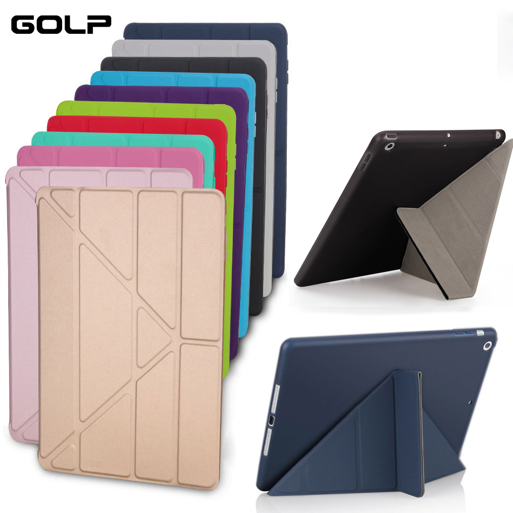 Case Cover for iPad 9.7 2017 , GOLP Silicone Magnetic Smart Cover Soft TPU Back Protective