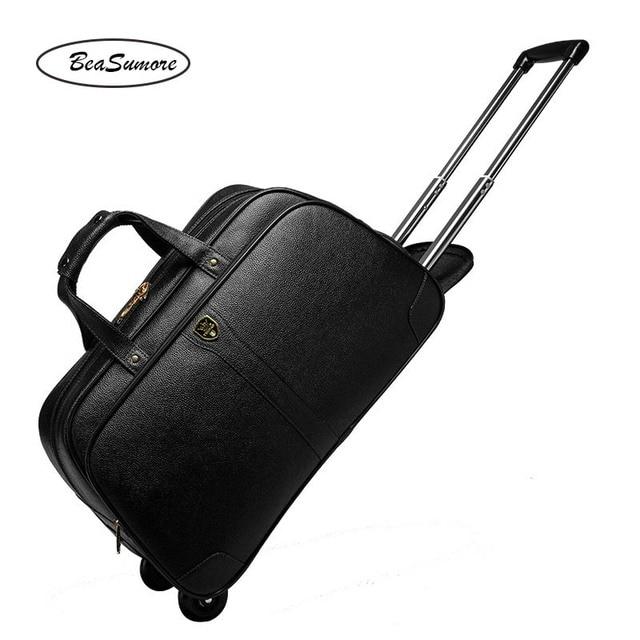 BeaSumore בדרגה גבוהה 100% אמיתי עור נסיעות תיק גברים עסקים מתגלגל מזוודות עגלת 20 אינץ לשאת על מזוודות גלגל