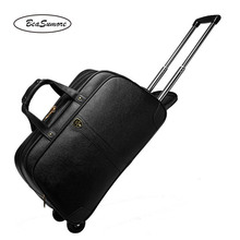BeaSumore High grade 100 % Genuine Leather Travel Bag Men Business Rolling Luggage Trolley 20 inch carry on Suitcases Wheel