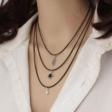 Women Fashion Leaf Star Pendant Necklace Black Jewelry Clavicle Daily Life, Gift, Party, Beach, etc Chain(China)
