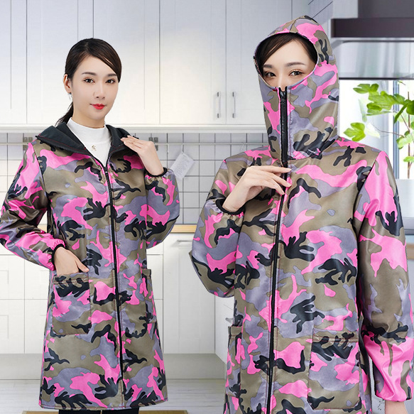 Zipper Overclothes Kitchen Apron Adult Long Sleeve Men And Women Anti-Oil Plus Velvet Thick Work Clothes Camouflage Large Set Of
