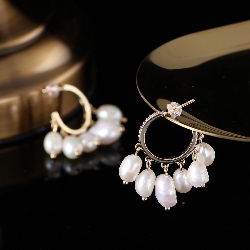 Handmade Real Freshwater Pearl Earrings For Women Hoop Earrings Baroque 7-9mm white/black pearl Fine Jewelry