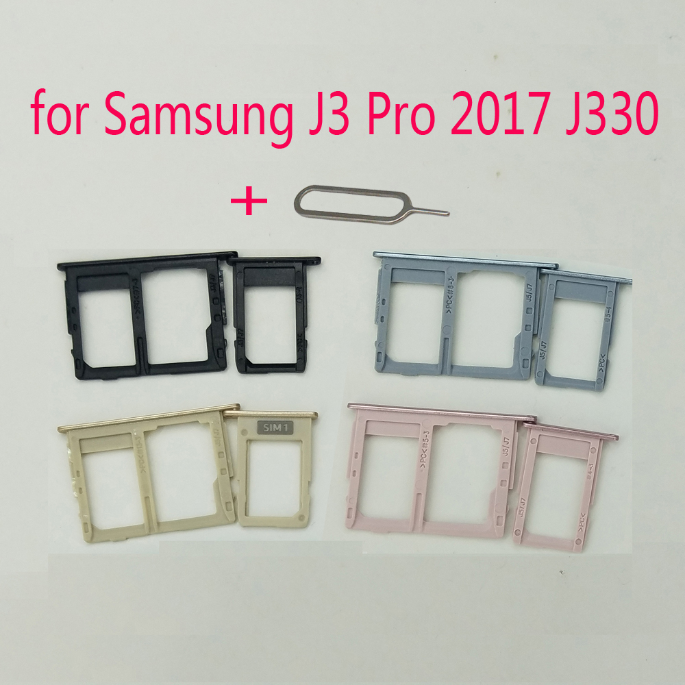 For Samsung Galaxy J3 Pro 2017 J330 J330F J330G J330FD Original Phone Housing New SIM Tray Adapter Micro SD Card Tray Holder