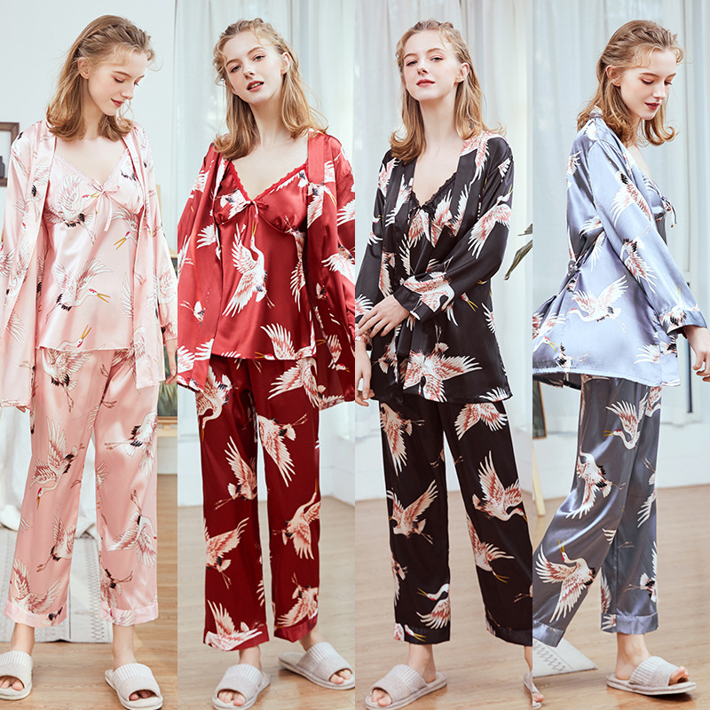 Yao Ting Imitated Silk Fabric WOMEN'S Pajamas New Products Spring And Summer Camisole Trousers Robe Three-piece Set-Home Wear St