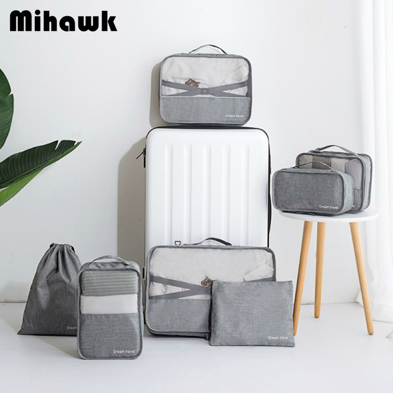 Mihawk Travel Storage Pouch Waterproof Men Women's Clothes Shoes Underwear Cosmetic Organizer Zip Suitcase Tote Gear Accessories