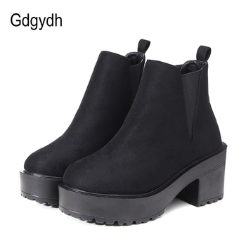 Gdgydh 2020 Autumn Winter Flock Women Ankle Boots Round Toe Square High Heeled Female Shoes Platform Slip-on Black Women Boots short boots women thick heeled women shoes autumn winter boots women high heeled martins boots ankle high boots women 3 41