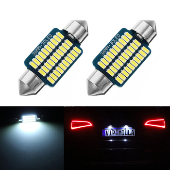 2x Dome Festoon 3014 Error free License Number Plate Light For Mercedes Benz W208 W209 W203 W169 W210 W211 W212 AMG CLK image