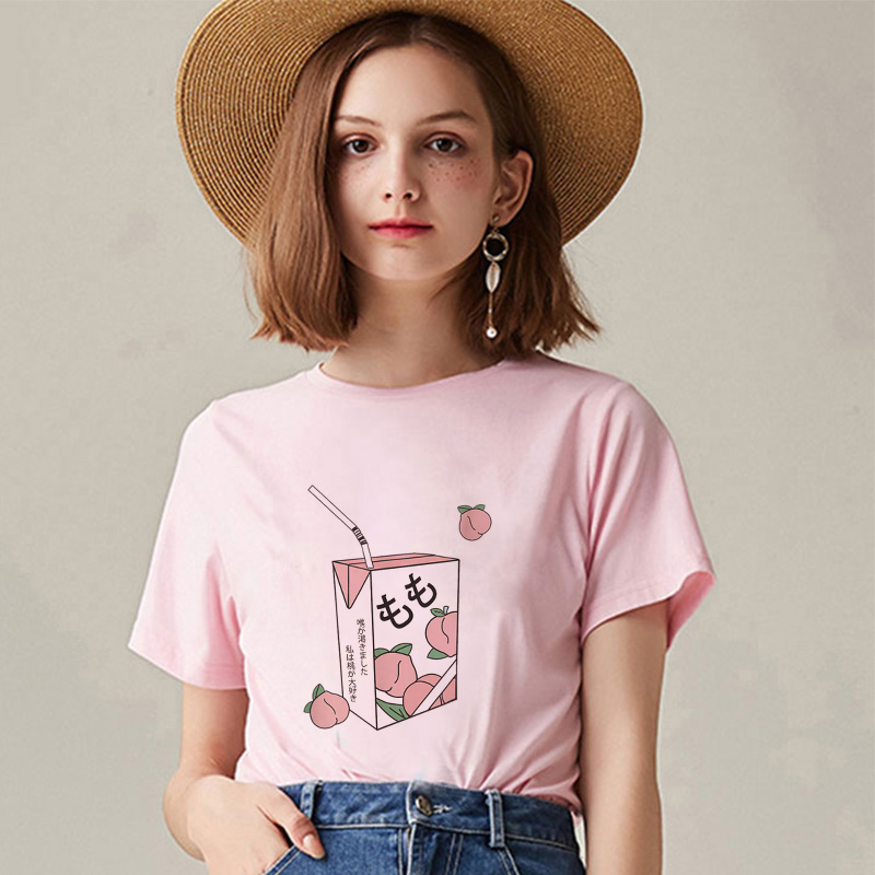 Kawaii Pink Summer Casual Tumblr Outfit Fashion Tops Cartoon Peach Juice Japanses Aesthetic Grunge T Shirt Women Harajuku Cute