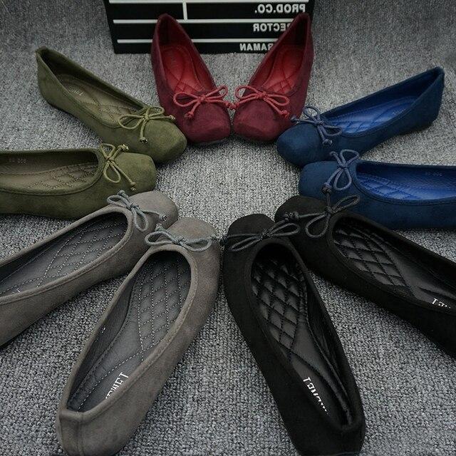 גדול גודל EU35 42 נשים של נעליים שטוחות זמש עור גבירותיי מזדמנים בלט דירות בלרינות מוקסינים נהיגה נעלי אישה