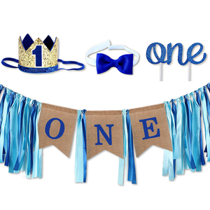 NEW Baby Shower Blue Pink Photo Frame Crown Hat Banners Garlands for Kids Baby Boy Girl One Year Old 1st Birthday Party Hot