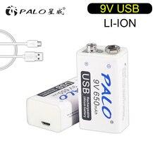 Palo 9V 6F22 Batterij 650Mah 9V Li Ion Oplaadbare Batterij 9Volt Micro Usb Oplaadbare Batterij Voor Multimeter ktv Micropho