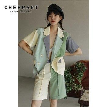 CHEERART Color Block Green Summer Blazer Women Short Sleeve Blazer Suit Jacket Double Breasted Coat Korean 2020 Fashion 1