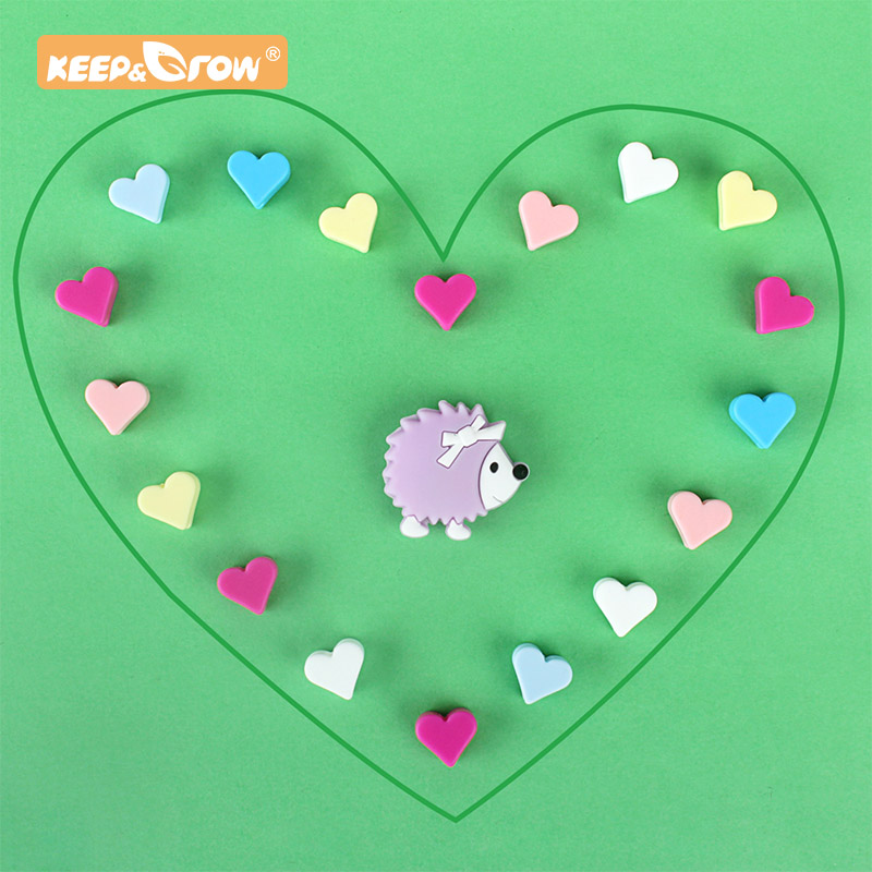 Keep&Grow 5pcs Animal Silicone Beads Hedgehog Heart Baby Teethers Rodent DIY Baby Teething Pacifier Chain Toys Accessories