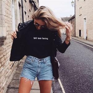 Women Fashion Letter Print Hell Was Boring T-Shirt Women Funny T Shirt Summer Short Sleeve Casual Tops Gothic Tops Camisas Mujer