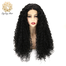 ZigZag Kinky Curly Lace Front Synthetic Wigs for Women Black Long Hair 13x4 Synthetic Lace Front Wigs Heat Resistant Fiber 2016 hot sale heat resistant synthetic lace front wigs long curly natural black for women free shipping untied braided