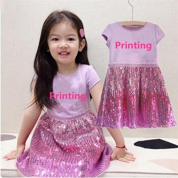 Vestido de princesa con lentejuelas para niña, traje de Cosplay para niño...