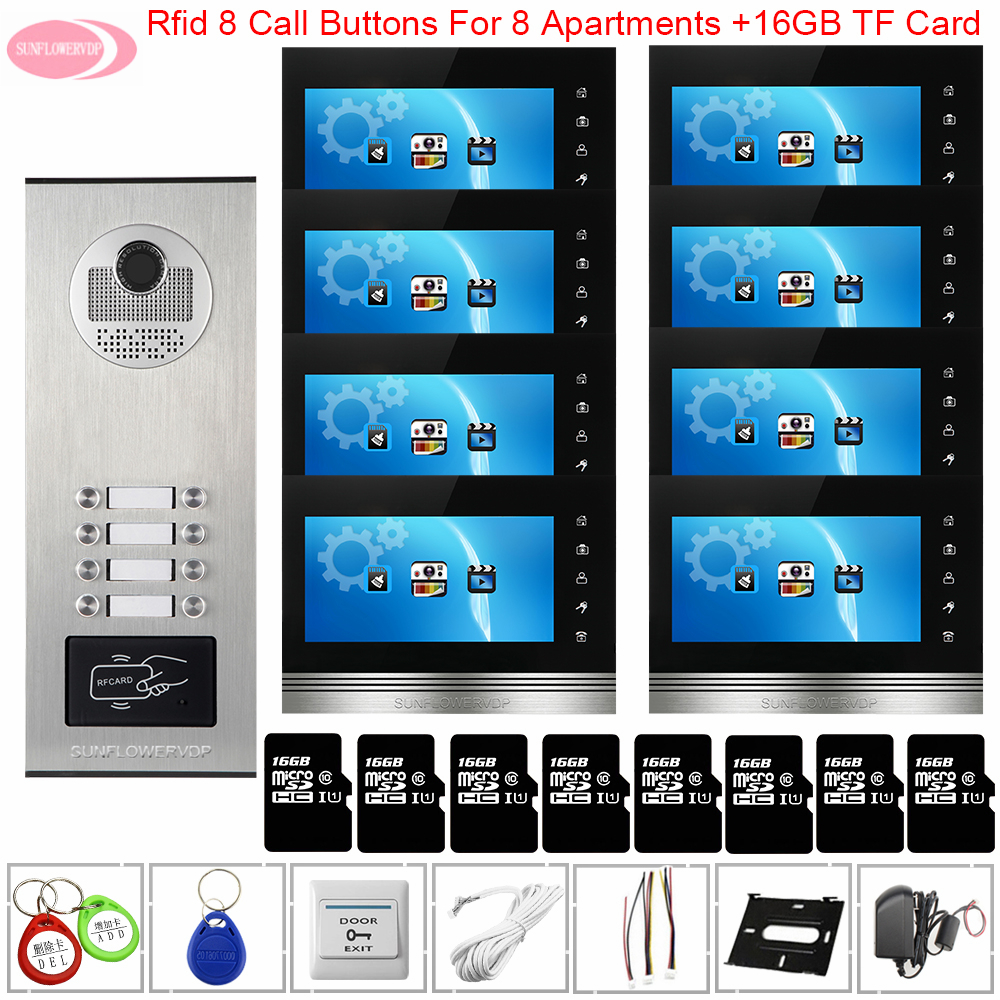 Video Door Bell With Monitors 7inch Color Video Intercom With Recording +16 GB TF Card Access Control Intercom To The Apartments
