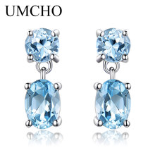 UMCHO Pure 925 Sterling Silver Drop Earrings For Women Oval Faceted Sky Blue Topaz Gemstone Earrings Christmas Gift Fine Jewelry rosalie natural loose gemstone brazil real sky blue topaz oval 6 8mm 3 pc 4 5ct in one lot gemstone for silver jewelry mounting