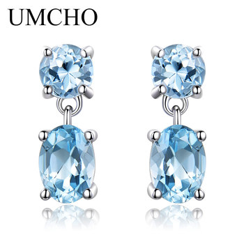 UMCHO Pure 925 Sterling Silver Drop Earrings For Women Oval Faceted Sky Blue Topaz Gemstone Earrings Christmas Gift Fine Jewelry jewelry 925 sterling silver natural topaz earrings mini small oval girls earring shaped faceted gemstone translucent luxury supp