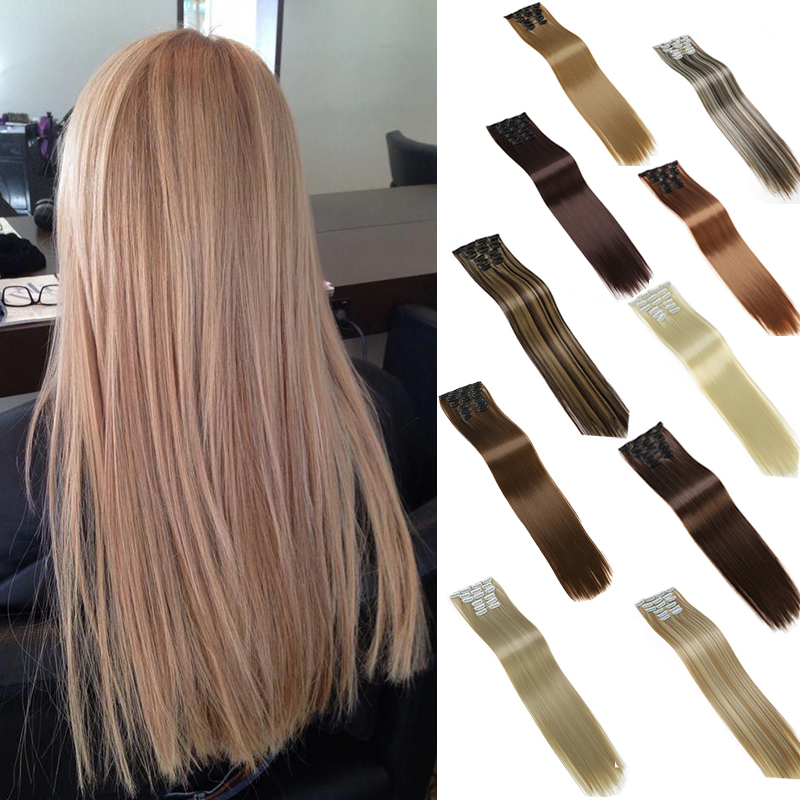 DIANQI hair 16 clip in synthetic hair extensions 22 Inch straight hair clips for women pure color 140g high temperature fiber