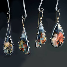 Vintage Earring Jewelry Dangle Drop-shaped Earrings for women colored marble High-grade colorful glass color separation  F4D329