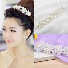Women Faux Pearl Rhinestones Hair Band Headband Party Pearls, Wedding Bridal White Casual, Party, Accessories(China)