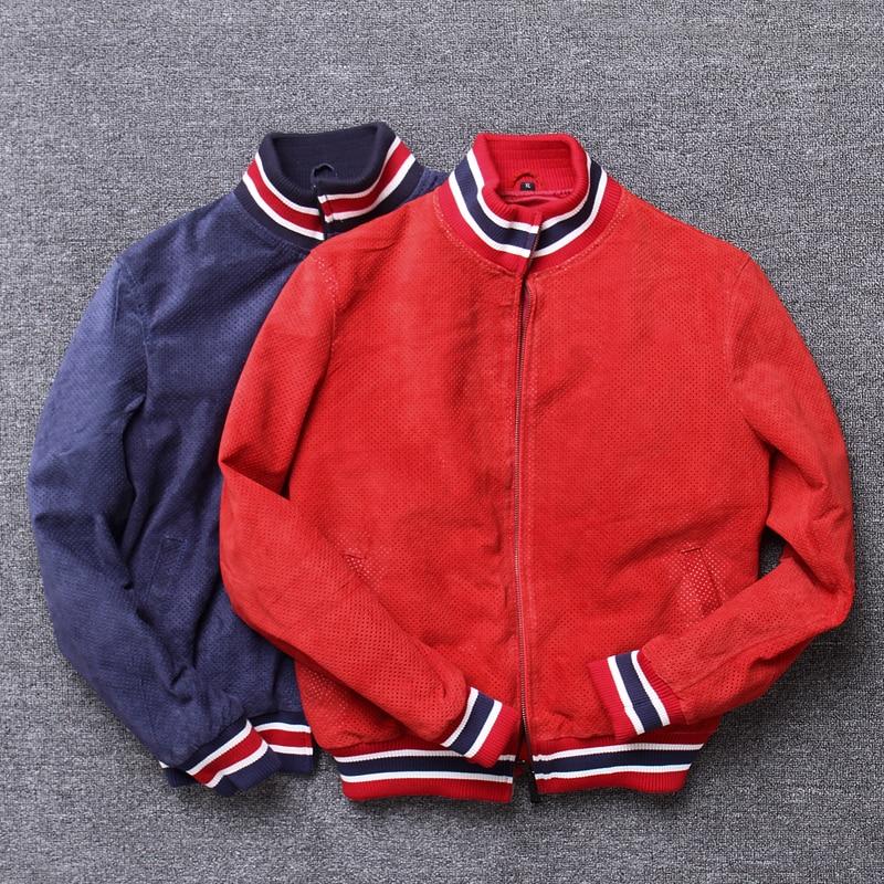 Tcyeek Natural Genuine Leather Jacket Men Spring Autumn 100% Real Sheepskin Coat Man Streetwear Moto Biker Bomber Jackets 1711