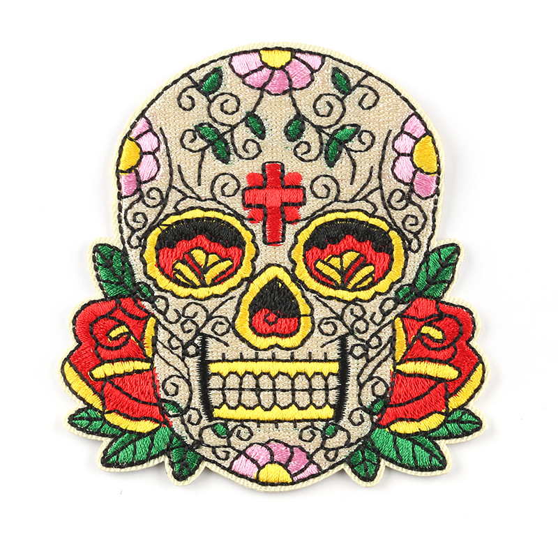 Clothes Stickers Iron On Patches Badges Skull Punk Cat Iron-On Embroidered Patches For Clothing DIY Stripes Applique