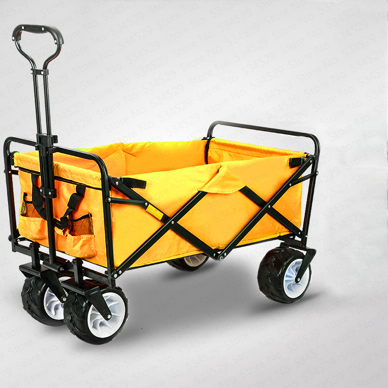 4 Wheel Heavy Duty Folding Bag Garden Trolley Cart Bag Wagon Hand Pull Wheelbarrow Camp Only Bag Cart image