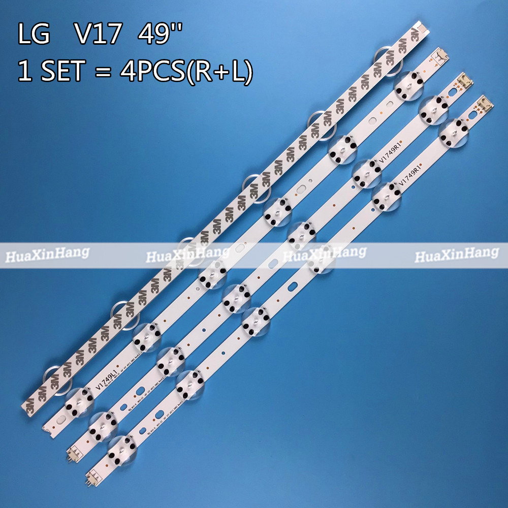 4 PCS LED Strip For LG 49UV340C 49UJ6565 49UJ670V 49UJ651V 49UJ630V V17 49 R1 L1 ART3 2862 2863 6916L-2862A 6916L-2863A LC490DGG
