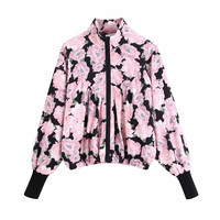 Vintage Chic Women Pink Floral Print Bomber Jacket Stylish Women Zipper Pockets Long Sleeve Coat Casual Female Outerwear