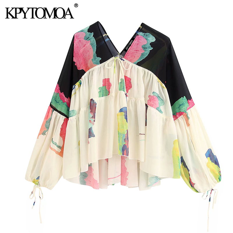 KPYTOMOA Women 2020 Fashion Print Loose Irregular Chiffon Blouses Vintage Tied V Neck Long Sleeve Female Shirts Blusas Chic Tops