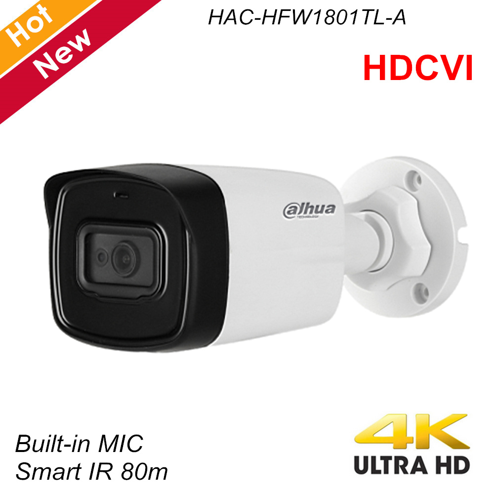 Dahua Lite Plus Series 4K HDCVI Camera IR Bullet Camera Built In MIC IR 80m IP67 Security Camera HAC-HFW1801TL-A