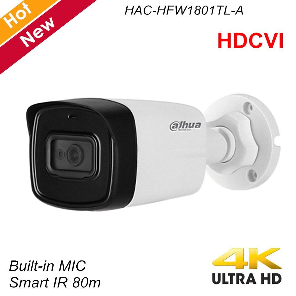 Dahua Lite Plus Series 4K HDCVI Camera IR Bullet Camera Built In MIC IR 80m IP67 Security Camera HAC-HFW1801TL-A