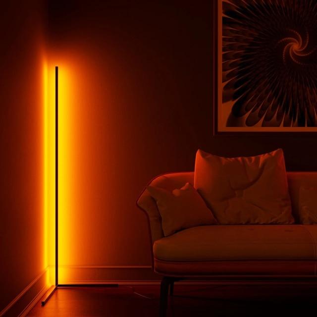 Dimming Black White Floor Lamp Modern RGB Remote LED Floor Lamps Standing Lamp simple corner standing Lamp corner light dropship Home Decor & Toys