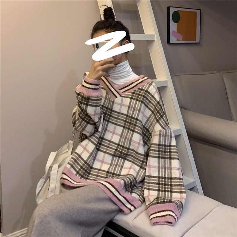 풀오버 여성 격자 무늬 패치 워크 v 넥 학생 하라주쿠 레저 모든 경기 컴포트 느슨한 Ulzzang Streetwear 스웨터 패션 Ins